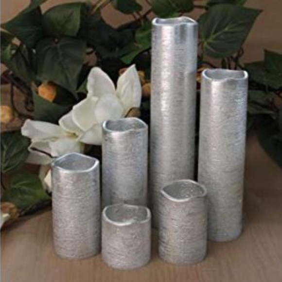 Other - NEW LED Flameless Silver Decor Candles 6 Piece Set
